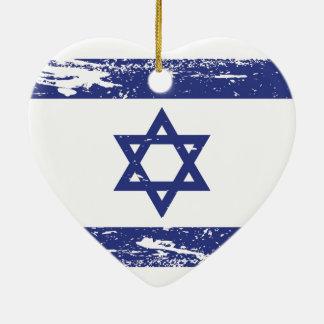 Ornement Cœur En Céramique Drapeau grunge de l'Israël