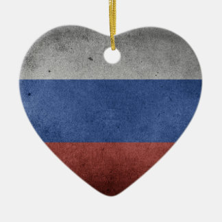 Ornement Cœur En Céramique Drapeau grunge vintage de la Russie