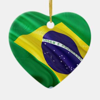 Ornement Cœur En Céramique Drapeau international Brésil