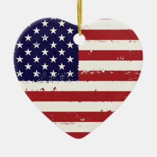 Ornement Cœur En Céramique Drapeau patriotique Etats-Unis