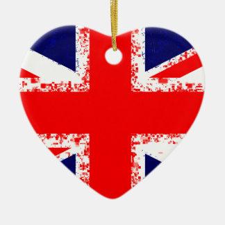 Ornement Cœur En Céramique Drapeau R-U de Londres de cric des syndicats