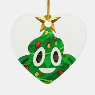 Ornement Cœur En Céramique Dunette Emoji d'arbre de Noël