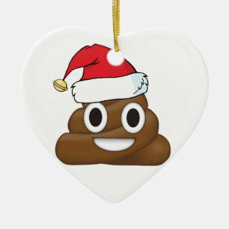Ornement Cœur En Céramique Dunette hilare Emoji de Noël