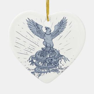 Ornement Cœur En Céramique Eagle et dessin de montagnes de dragon
