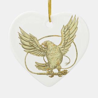 Ornement Cœur En Céramique Eagle saisissant le dessin de Bullwhip