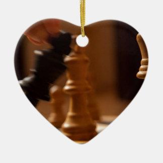 Ornement Cœur En Céramique Echec et mat