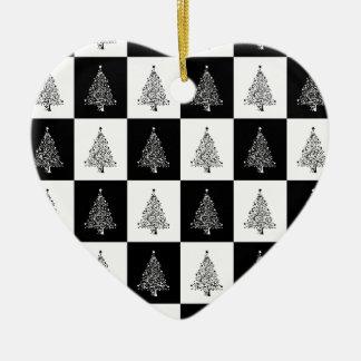 Ornement Cœur En Céramique Échecs d'arbre de Chirstmas
