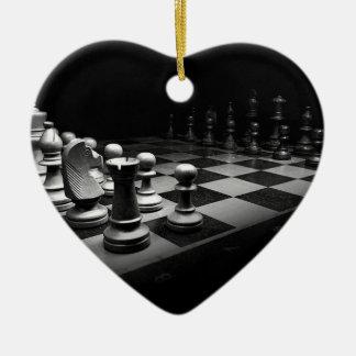 Ornement Cœur En Céramique Échiquier blanc noir du Roi de pièces d'échecs