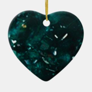 Ornement Cœur En Céramique éclat vert-foncé