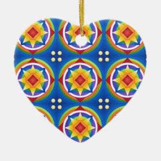 Ornement Cœur En Céramique Édredon de mandala d'arc-en-ciel