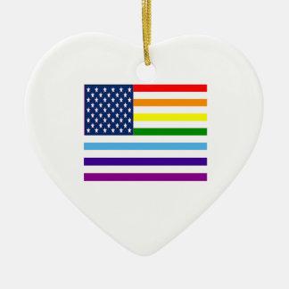 Ornement Cœur En Céramique Égalité américaine