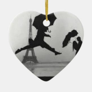 Ornement Cœur En Céramique Eiffel Tower Love Paris