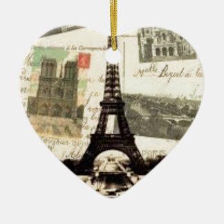 Ornement Cœur En Céramique Eiffel Tower vintage Paris