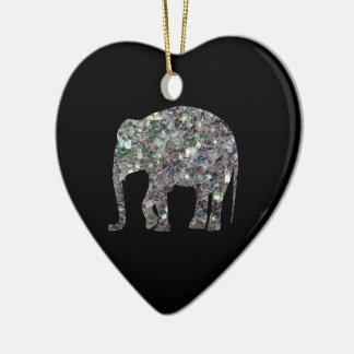 Ornement Cœur En Céramique Éléphant argenté coloré scintillant de mosaïque de