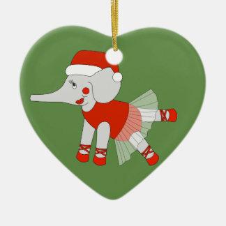 Ornement Cœur En Céramique Éléphant de ballerine - Special de Noël