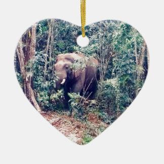 Ornement Cœur En Céramique Éléphant en Thaïlande