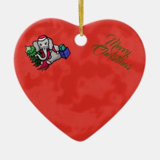 Ornement Cœur En Céramique Éléphant mignon de Joyeux Noël de Père Noël de