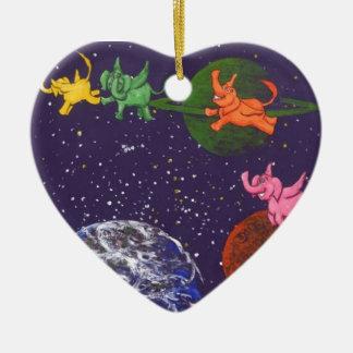 Ornement Cœur En Céramique Éléphants de l'espace
