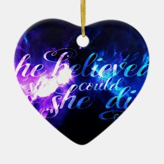 Ornement Cœur En Céramique Elle a cru à l'annonce Amorem Amisi
