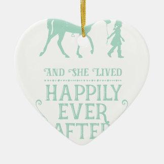 Ornement Cœur En Céramique Elle a vécu heureusement pour toujours cheval