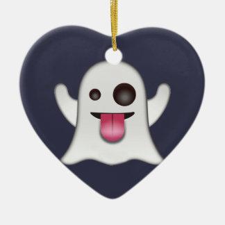 Ornement Cœur En Céramique Emoji de fantôme