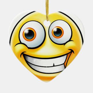 Ornement Cœur En Céramique Émoticône heureuse d'Emoji