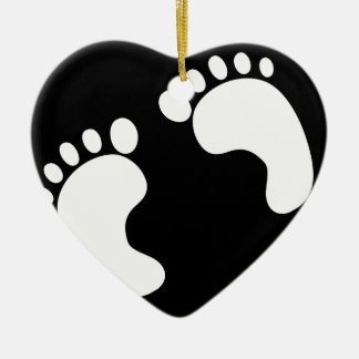 Ornement Cœur En Céramique Empreintes de pas blanches de bébé