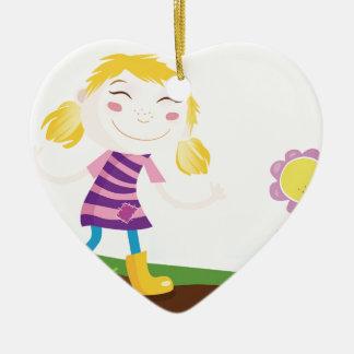 Ornement Cœur En Céramique Enfant dans le jardin