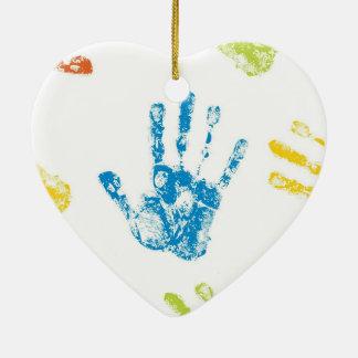 Ornement Cœur En Céramique Enfants Handprints en peinture