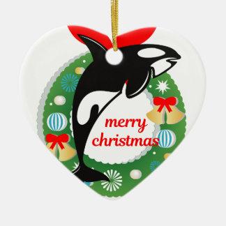 Ornement Cœur En Céramique épaulard de Joyeux Noël