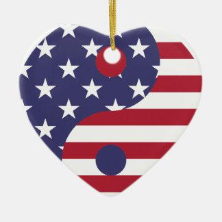 Ornement Cœur En Céramique Équilibre d'Asiatique d'art abstrait de drapeau de