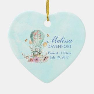 Ornement Cœur En Céramique Équitation lunatique de lapin dans un bébé chaud