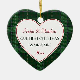Ornement Cœur En Céramique ęr Coeur vert de cadeau de plaid marié par Noël