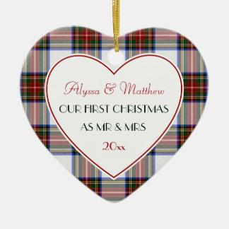 Ornement Cœur En Céramique ęr Plaid de Cadeau-Stewart marié par Noël