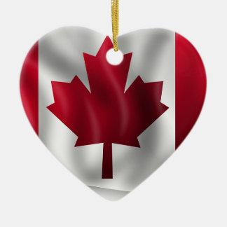 Ornement Cœur En Céramique Érable canadien de feuille d'emblème de pays de