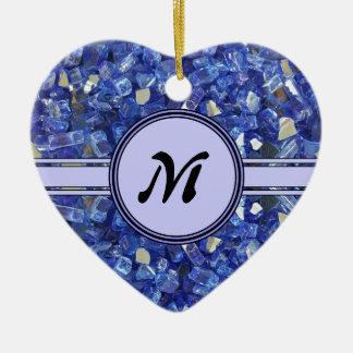 Ornement Cœur En Céramique Étincelle en verre bleue de monogramme de cristaux