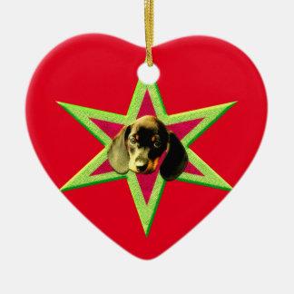 Ornement Cœur En Céramique Étoile de teckel