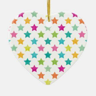 Ornement Cœur En Céramique Étoiles colorées IV