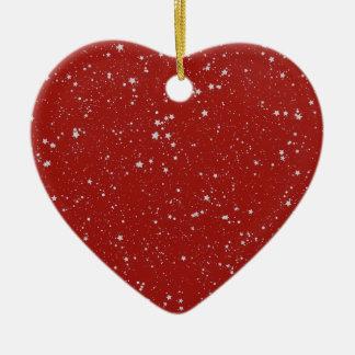 Ornement Cœur En Céramique Étoiles de parties scintillantes - rouge argenté