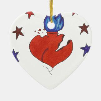 Ornement Cœur En Céramique Étoiles et coeur