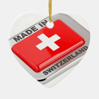 Ornement Cœur En Céramique Fabriqué en Suisse