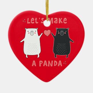 Ornement Cœur En Céramique faisons un panda