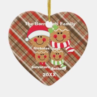 Ornement Cœur En Céramique Famille d'ornement de Noël de 4 visages de pain
