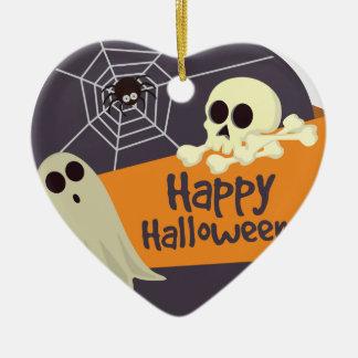 Ornement Cœur En Céramique Fantômes heureux et os croisés de Halloween