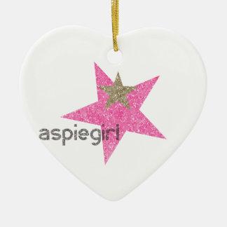Ornement Cœur En Céramique Femme d'Aspiegirl avec Aspergers