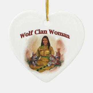 Ornement Cœur En Céramique Femme de clan de loup
