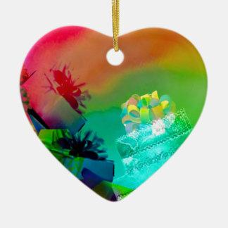 Ornement Cœur En Céramique Fest des cadeaux et des couleurs
