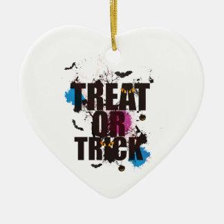 Ornement Cœur En Céramique Festin ou voie de Halloween