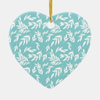 Ornement Cœur En Céramique Feuille blanc dans le bleu en bon état