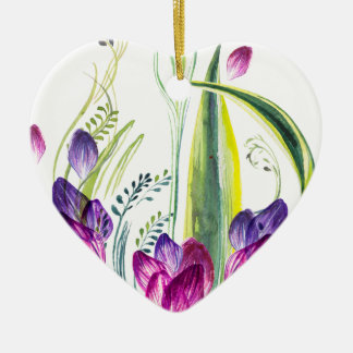 Ornement Cœur En Céramique Feuille et fleurs tropicaux pour votre maison